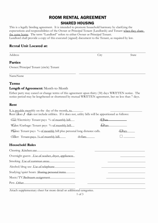 Shared Housing Agreement Lovely Fillable D Housing Room Rental Agreement Template