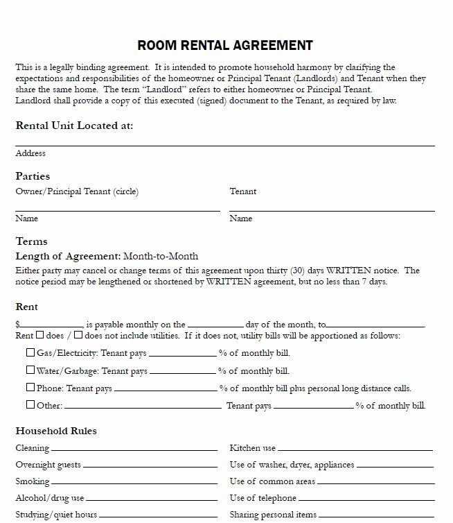 Shared Housing Agreement New Sample Lease Agreement for Renting A Room