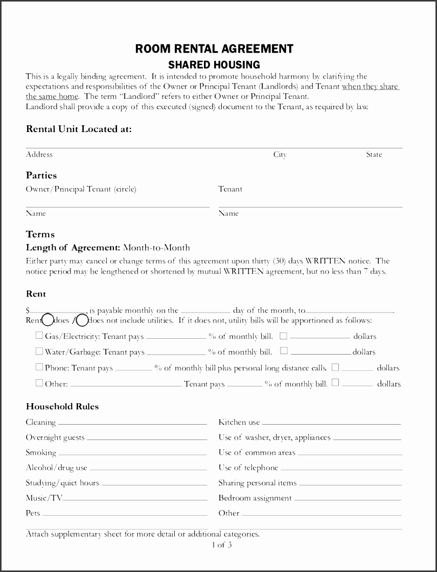 Shared Housing Agreement Unique 6 Room Lease Agreement Template Sampletemplatess