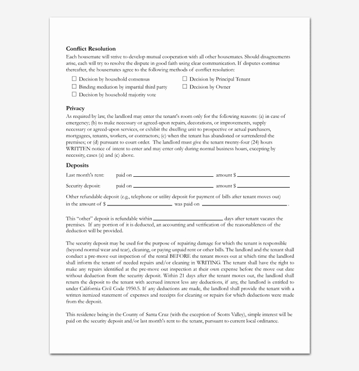 Shared Housing Agreement Unique Room Rental Agreement 7 Sample Docs for Word & Pdf