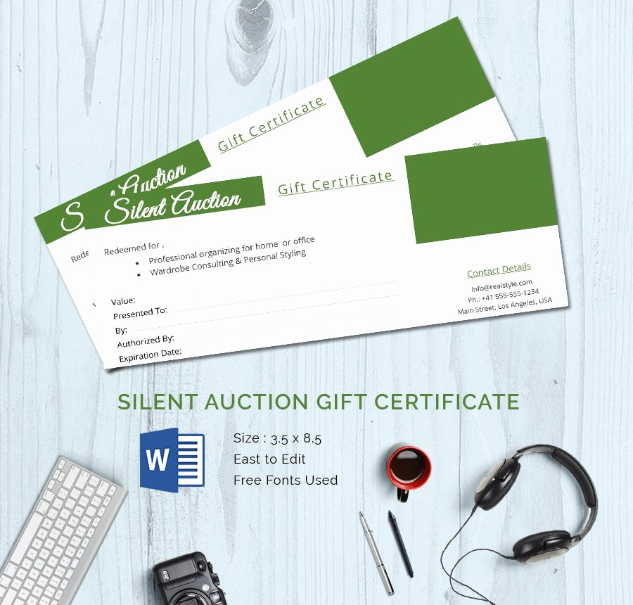 Silent Auction Certificate Template Awesome 15 Certificate Templates