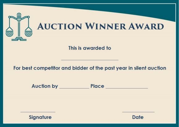 Silent Auction Certificate Template Best Of Silent Auction Winner Certificate Template Sample