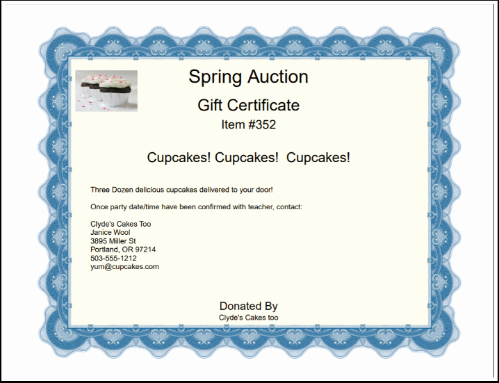 Silent Auction Certificate Template Luxury Creating Gift Certificates – Auction Help Home