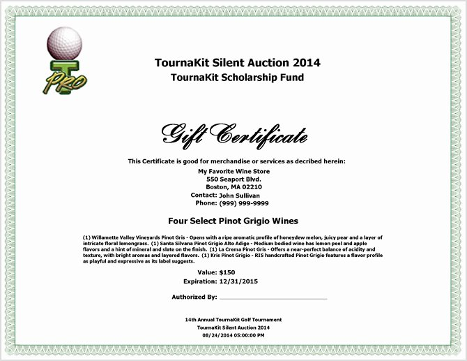 Silent Auction Certificate Template Unique Charity Auction forms 108 Silent Auction Bid