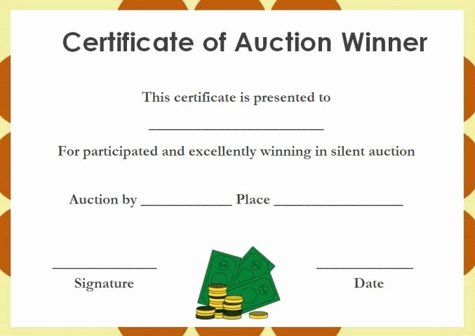 Silent Auction Gift Certificate Template Beautiful Silent Auction Winner Certificate
