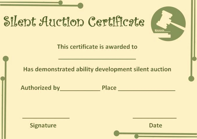 Silent Auction Gift Certificate Template Elegant Silent Auction Certificate Template