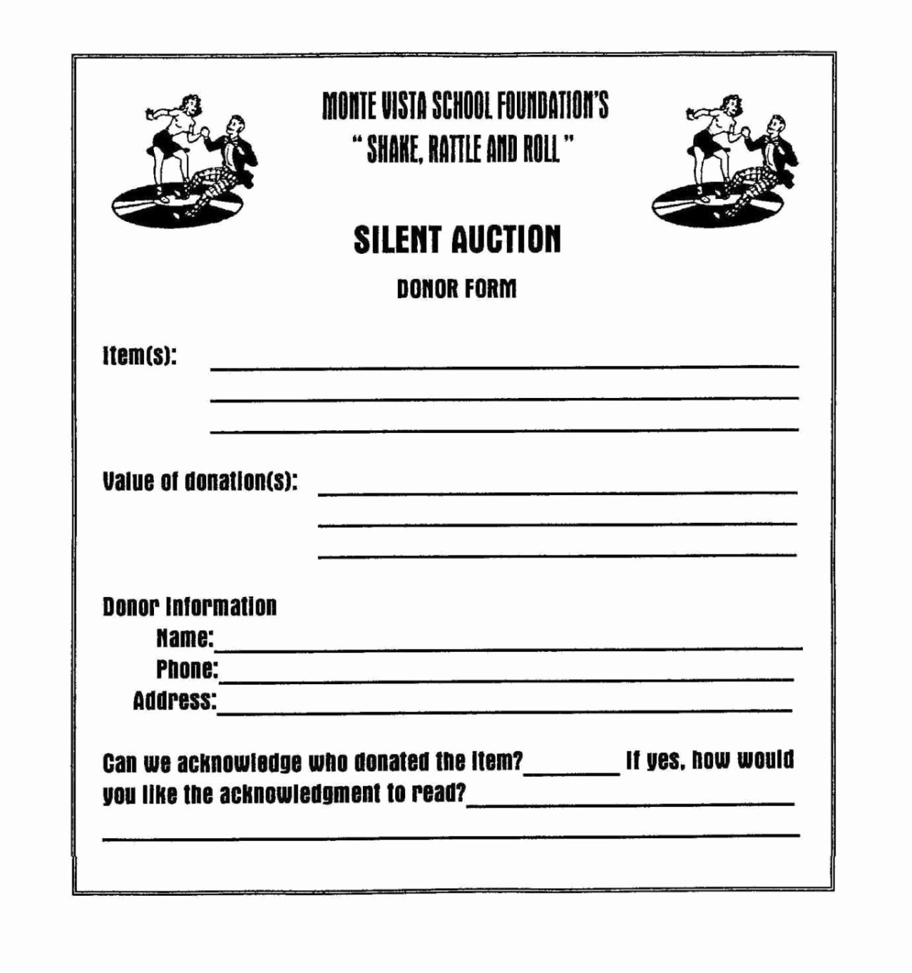 Silent Auction Gift Certificate Template Lovely Silent Auction Donation form Template Sampletemplatess