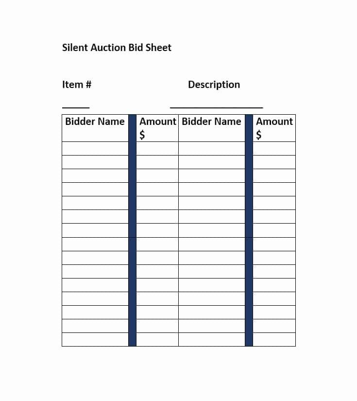 Silent Auction Item Description Template Best Of Silent Auction Bid Sheet Template Free Word Printable