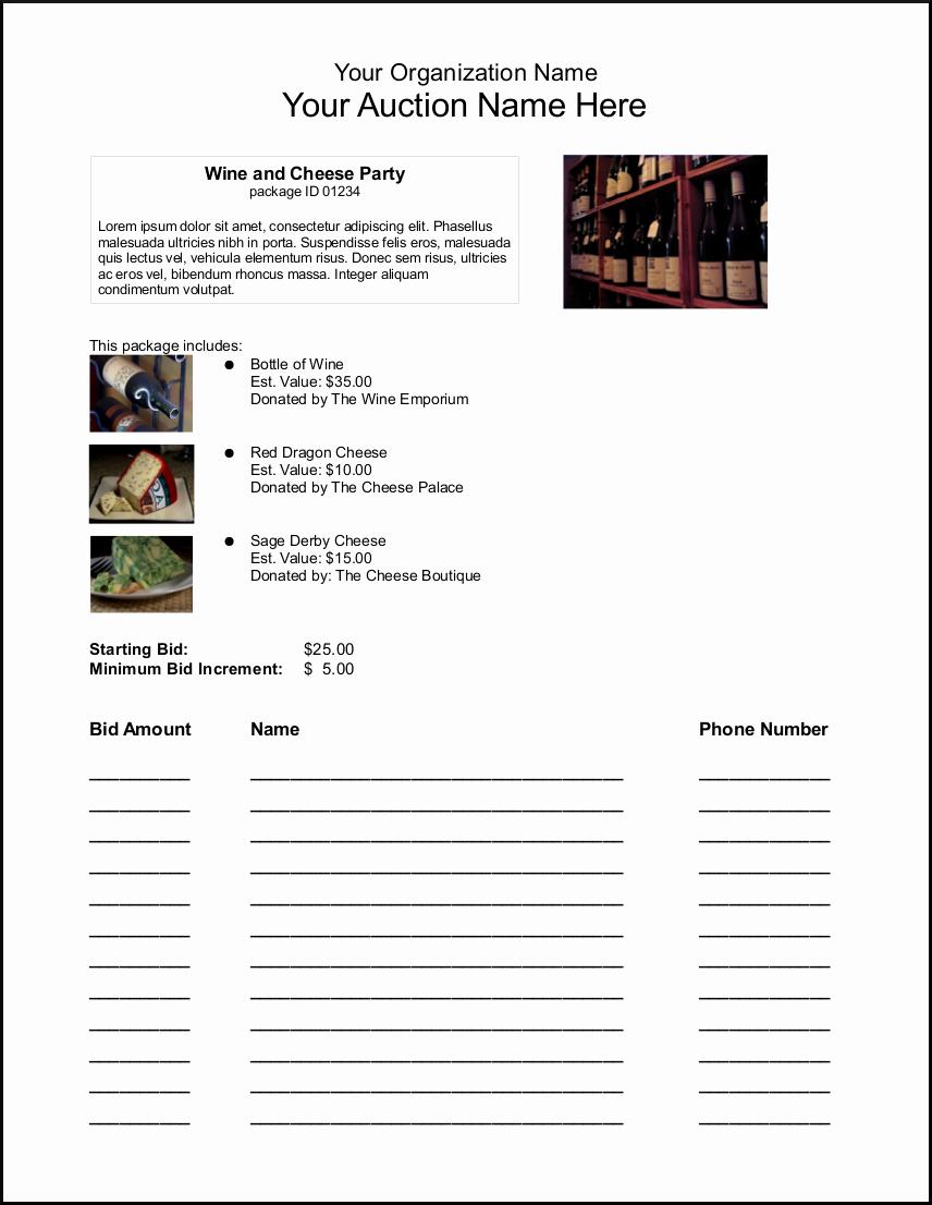 Silent Auction Item Description Template Luxury Bid Sheets