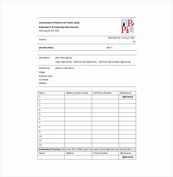 Silent Auction Item Description Template New Bid Sheet Template 10 Free Word Pdf Documents