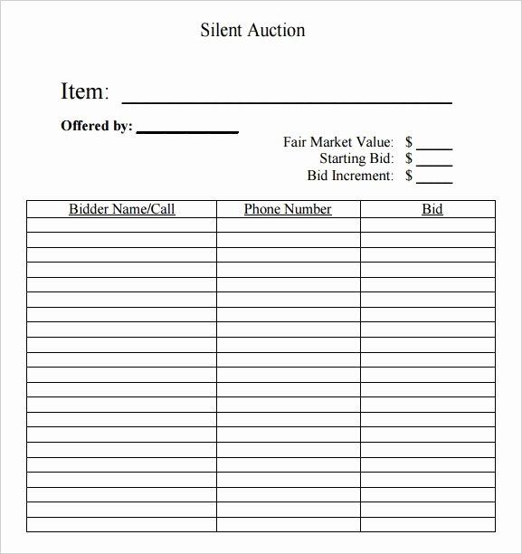 Silent Auction Item Description Template New Silent Auction Bid Sheet Free