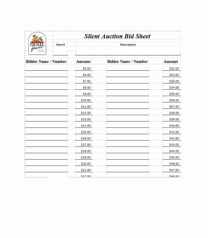 Silent Auction Item Description Template Unique Free Silent Auction Bid Sheet Templates Word Excel