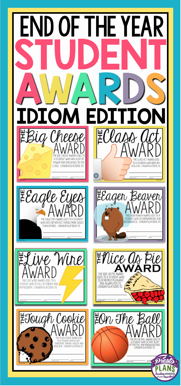 Silly Awards for Kids Awesome End Of the Year Awards Idiom Edition