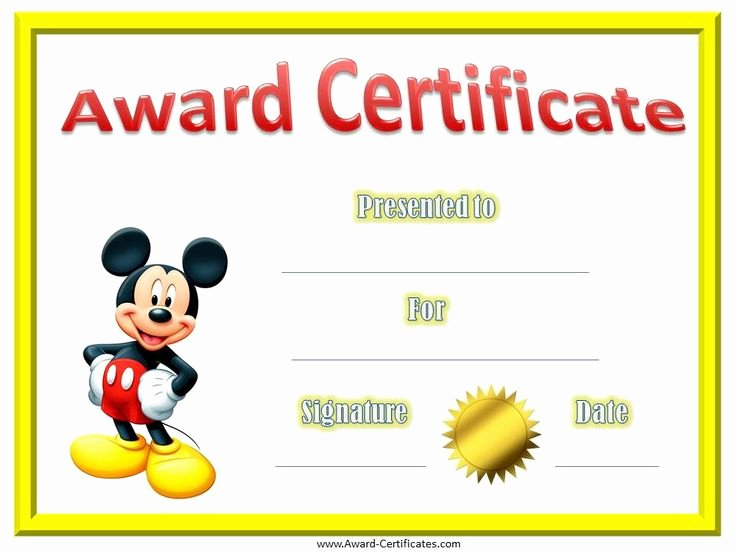 Silly Awards for Kids Lovely Kindergarten Diplomas with Mickey Mouse