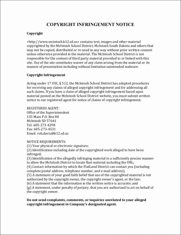 Simple Copyright Statement Lovely Free 5 Notice Of Copyright Infringement Samples