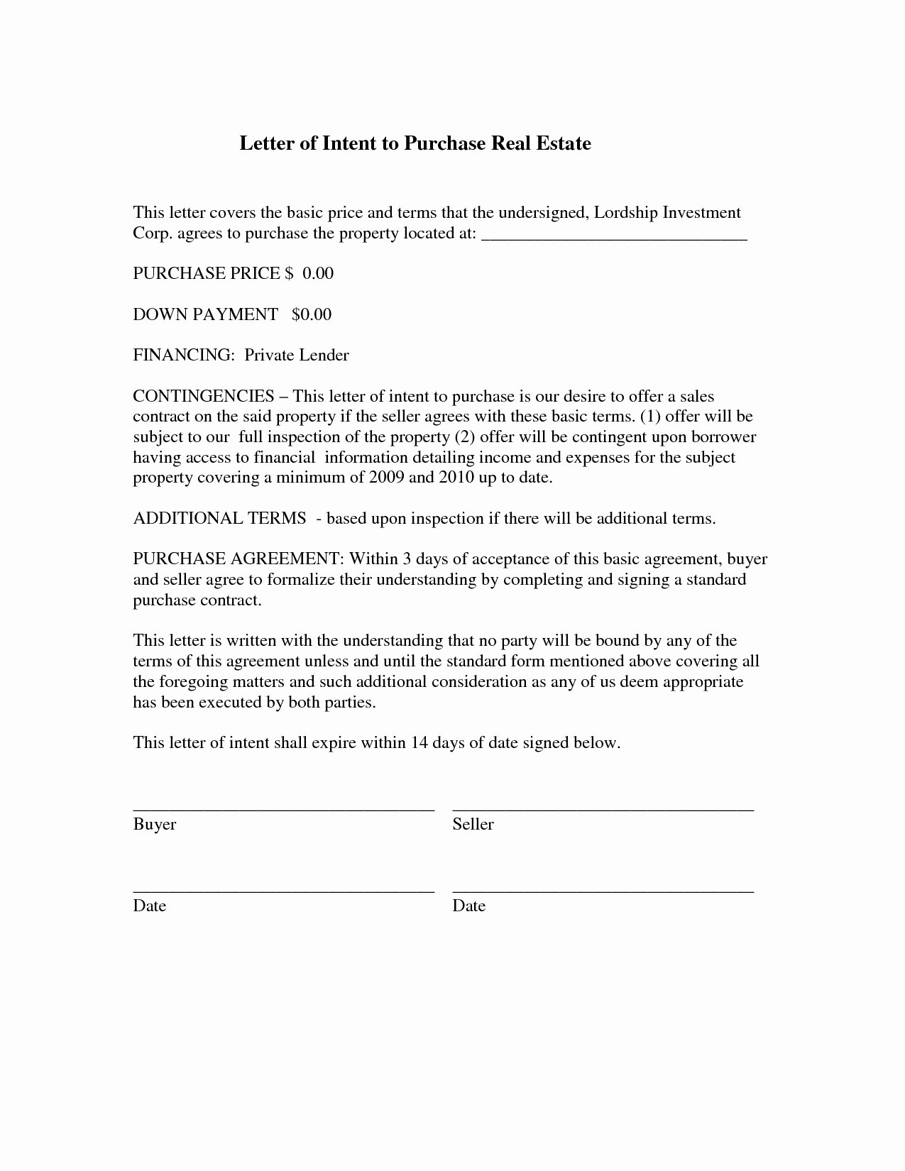 Simple Letter Of Intent to Purchase Property Fresh Letter Intent to Sell Property Template Collection