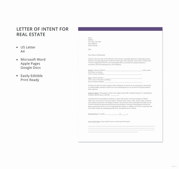 Simple Letter Of Intent to Purchase Property Inspirational 27 Simple Letter Of Intent Templates Free Sample