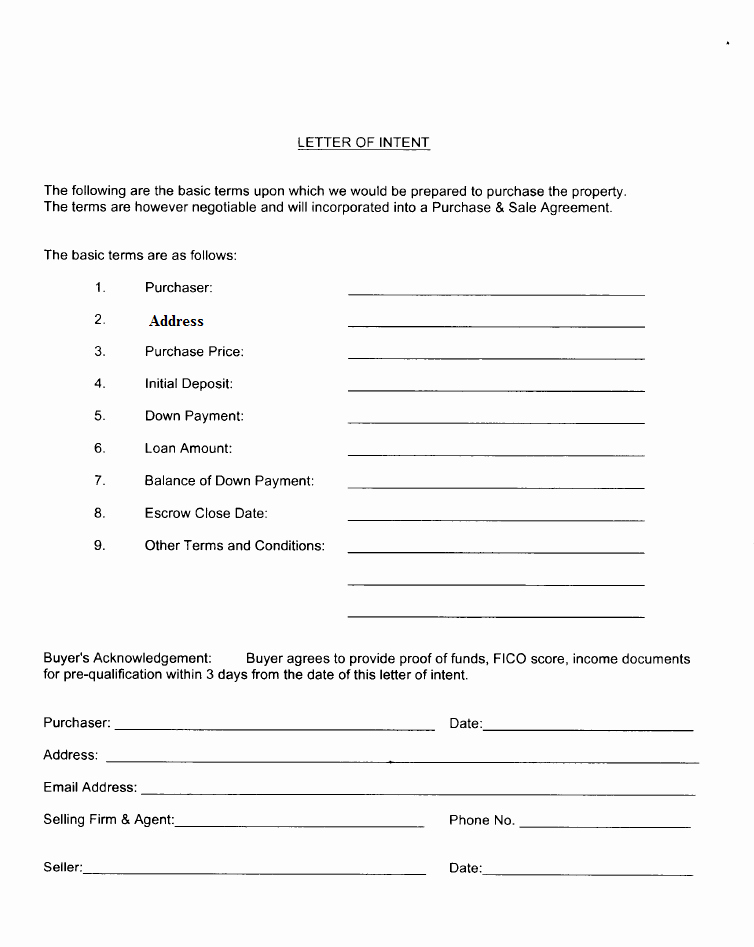 Simple Letter Of Intent to Purchase Property Lovely In E Property Offer Los Angeles