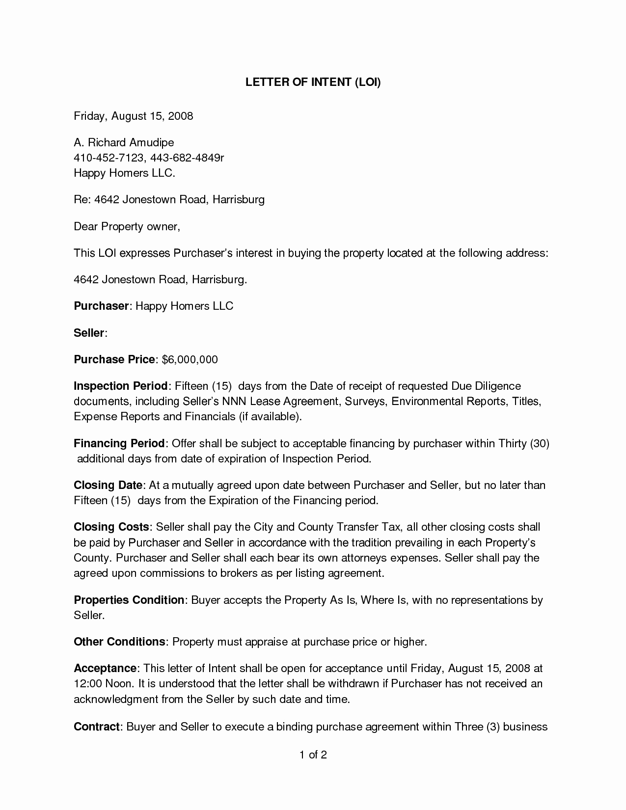 Simple Letter Of Intent to Purchase Property New Sample Letter Intent to Purchase Real Estate Free