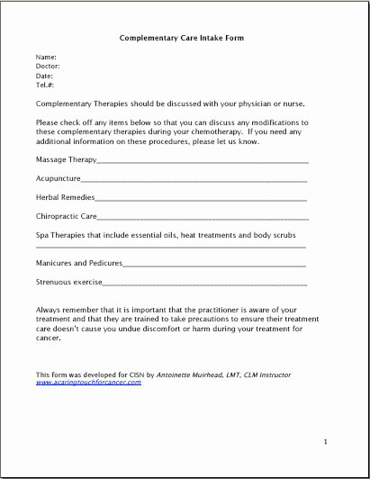 Simple Massage Intake form Beautiful Plementary Care History form by Antoinette Muirhead