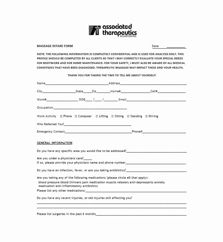 Simple Massage Intake form New 59 Best Massage Intake forms for Any Client Printable