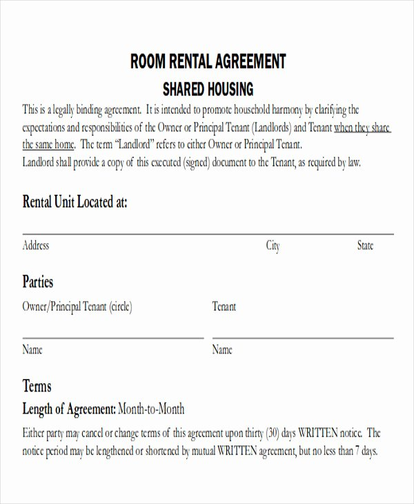 Simple Rent Agreement form Elegant 8 Room Rental Agreement form Sample Examples In Word Pdf