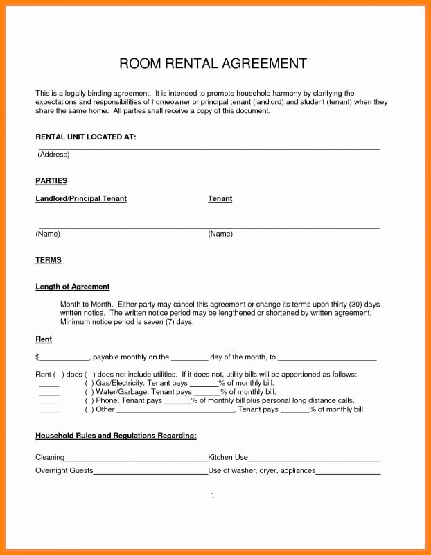Simple Rent Agreement form Elegant Simple Month to Month Rental Agreement In 2019