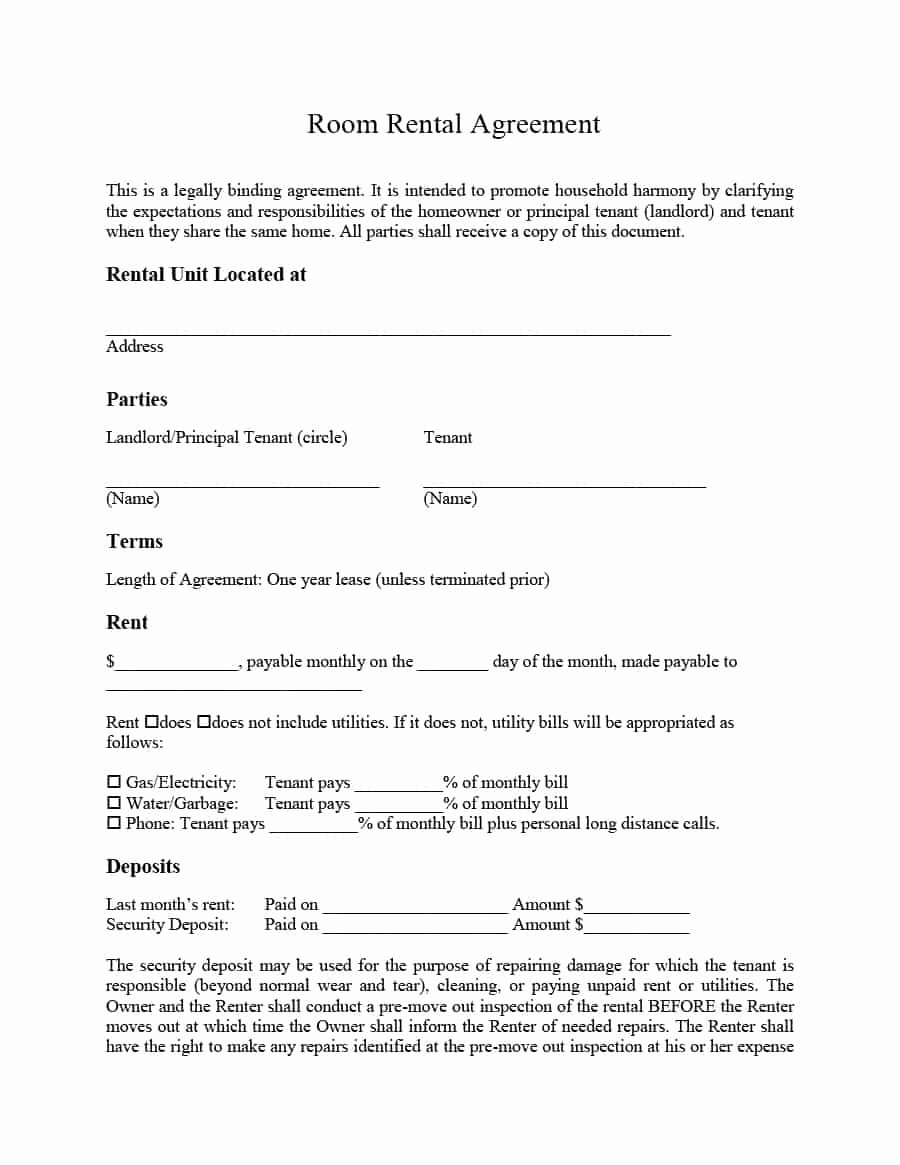 Simple Rent Agreement form Inspirational 39 Simple Room Rental Agreement Templates Template Archive