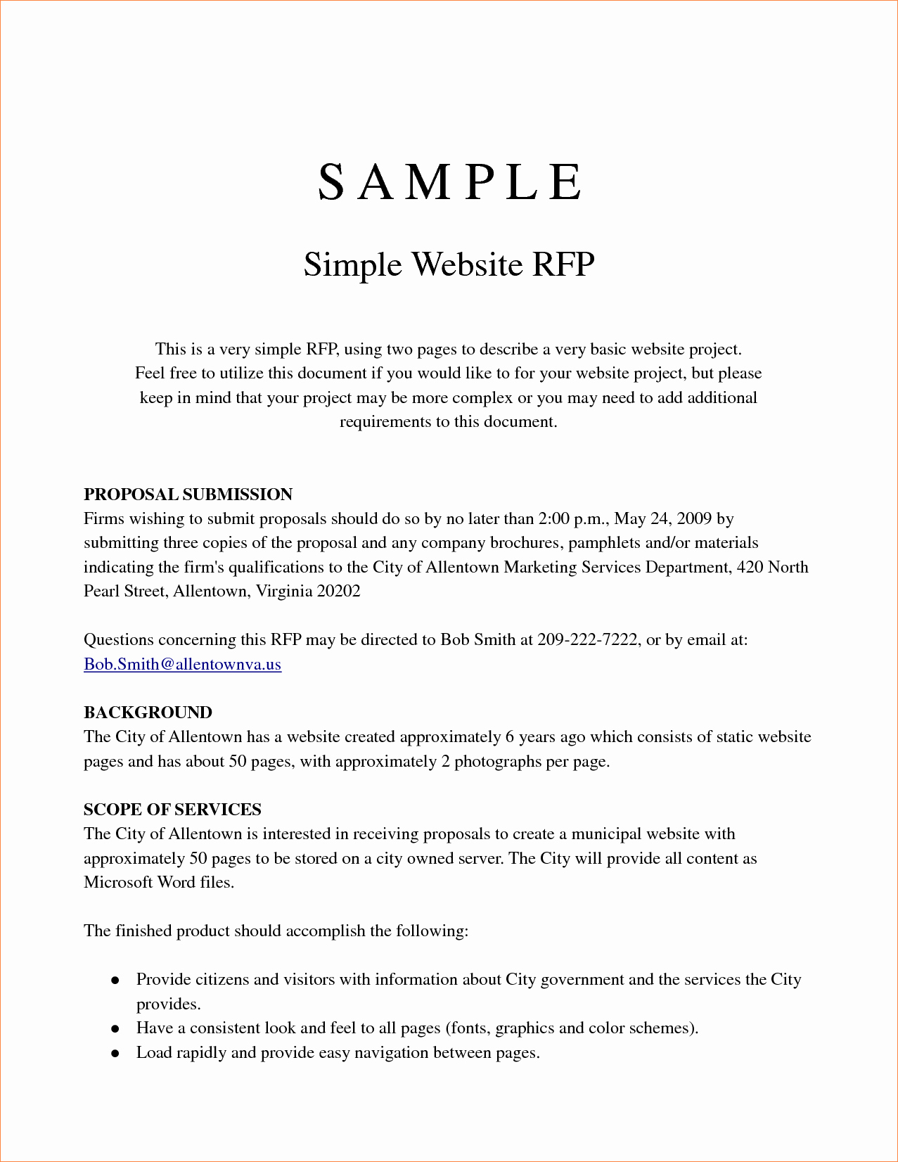 Simple Request for Proposal Example Fresh Simple Project Proposal Example