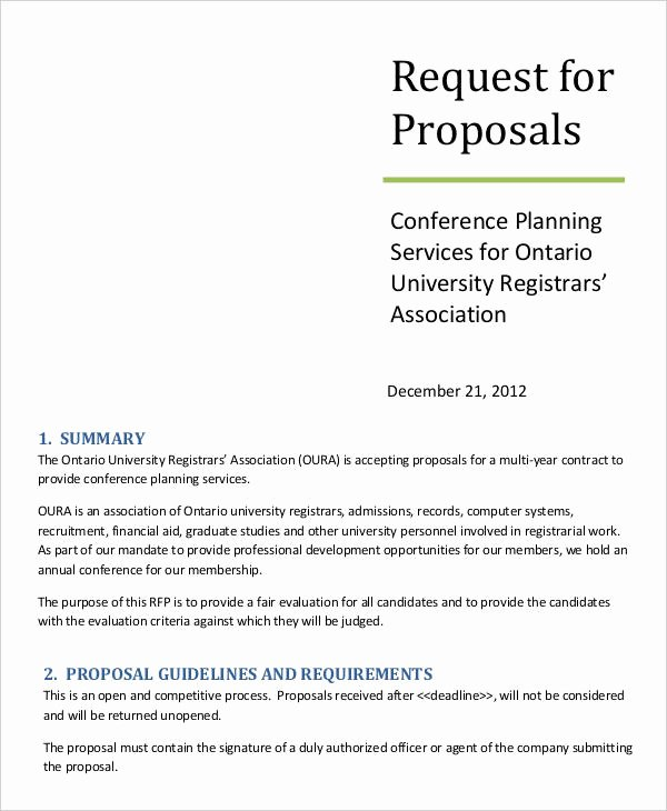 Simple Request for Proposal Example Inspirational 14 Request for Proposal Templates Free Sample Example