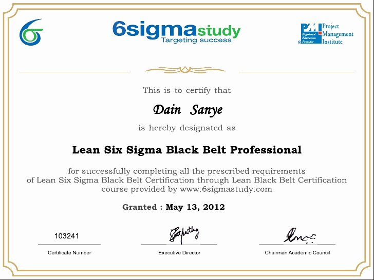 Six Sigma Green Belt Certificate Template Awesome Lean Six Sigma Black Belt Certificate Dain Sanye