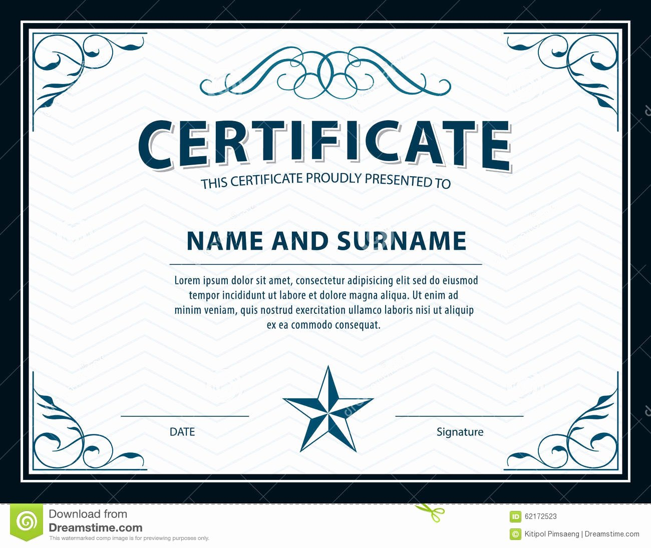 Size Of Certificate Paper New Certificate Template Diploma Letter Size Vector Stock