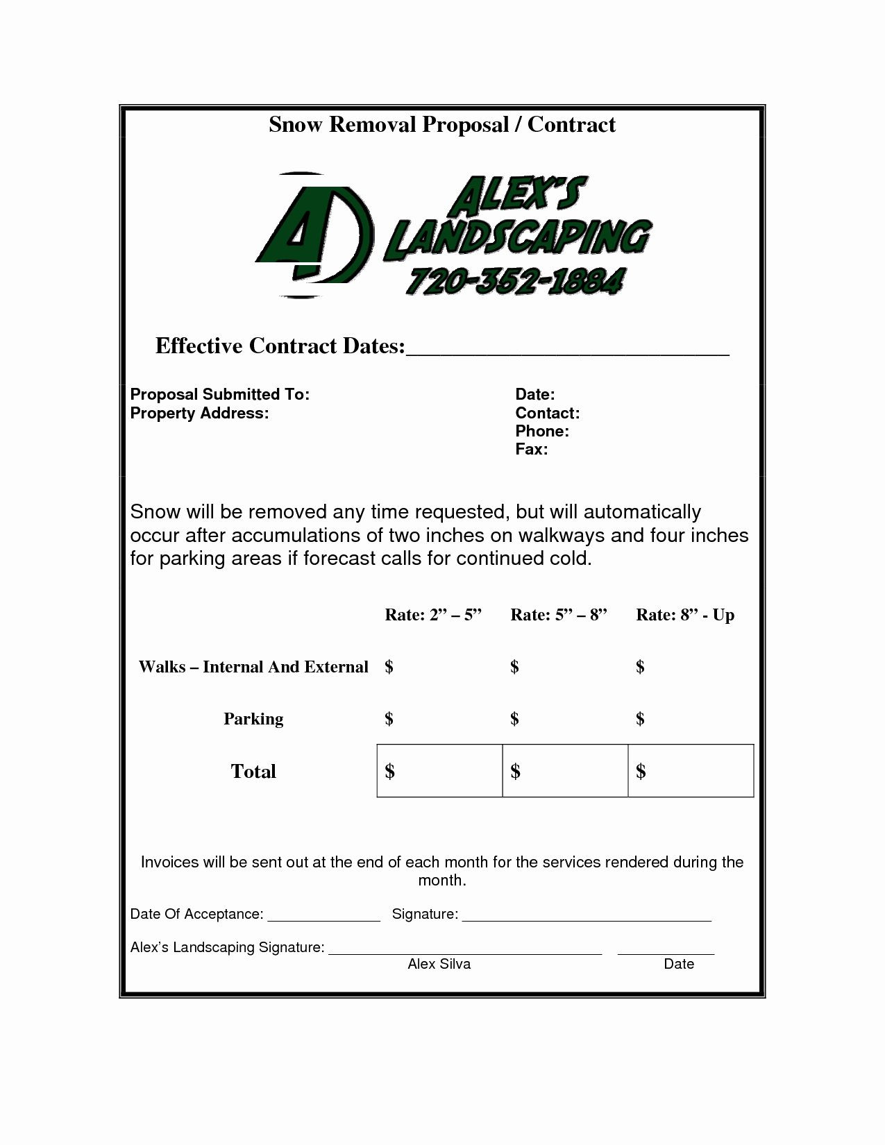 Snow Removal Contract Example Fresh Snow Removal Invoice Invoice Template Ideas