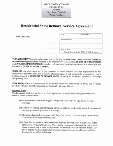 Snow Removal Contract Example Inspirational Snow Plow Hourly Rate Residential Agreement $12 99