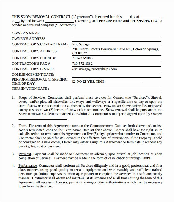 Snow Removal Contract Example Lovely Snow Plowing Contracts