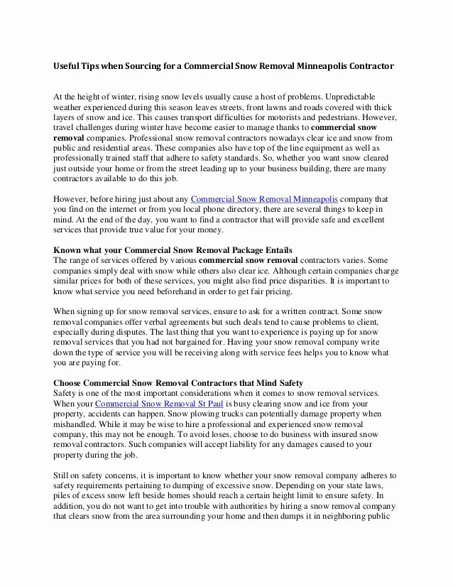 Snow Removal Contract Example Luxury Snow Plow Contract Template 2199