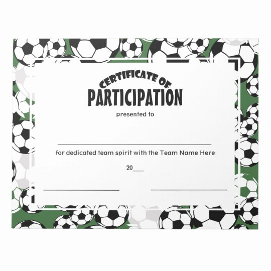 Soccer Award Certificate Template Awesome soccer Certificates Of Participation Notepad