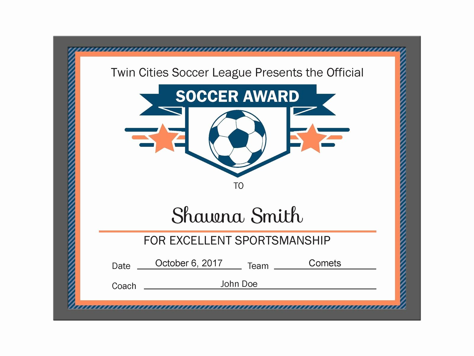 Soccer Award Certificate Template Best Of Editable Pdf Sports Team soccer Certificate Award Template