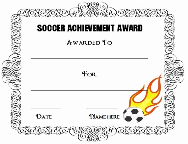 Soccer Award Certificate Template Inspirational soccer Awards Template