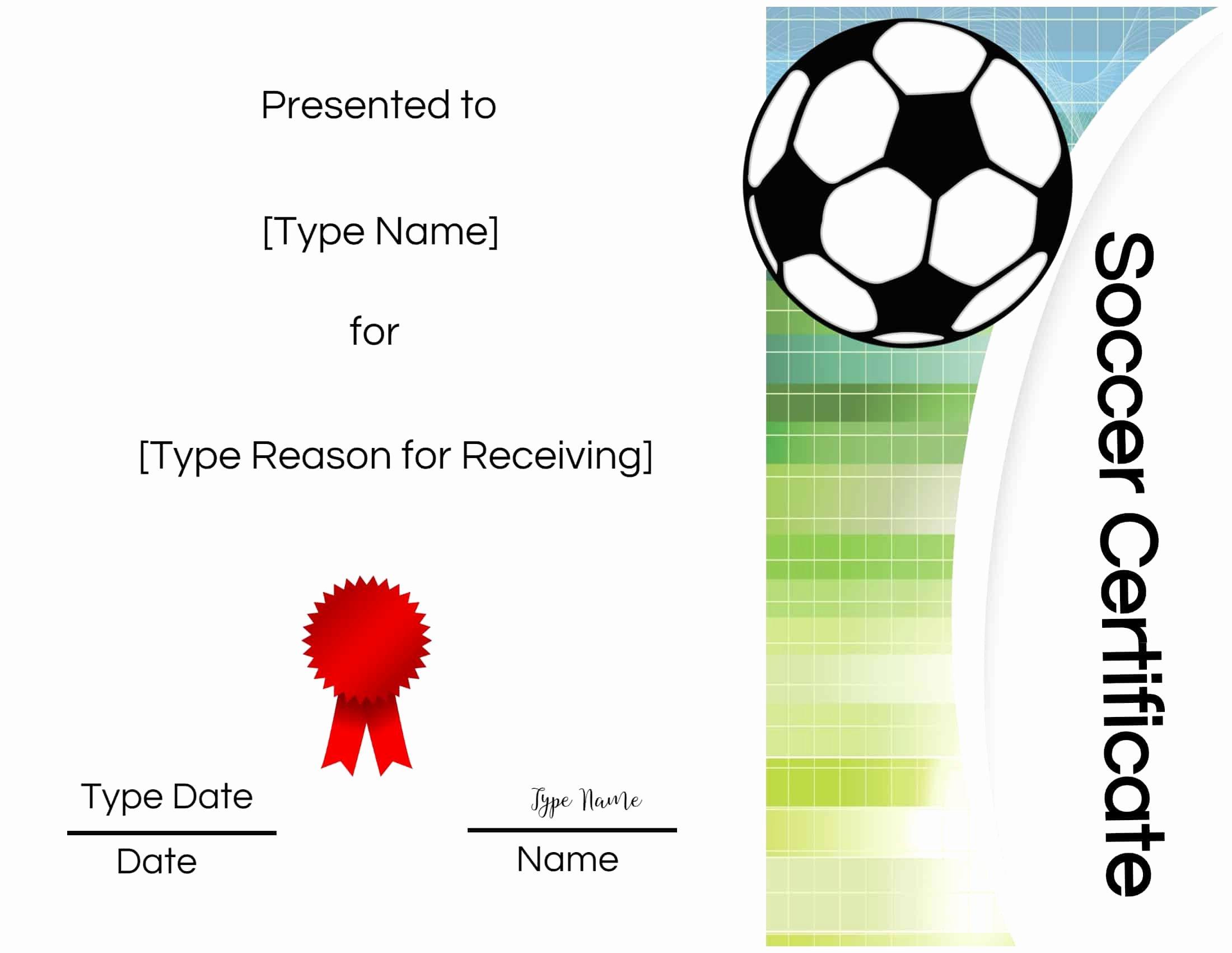 Soccer Award Certificate Template Luxury Free soccer Certificate Maker