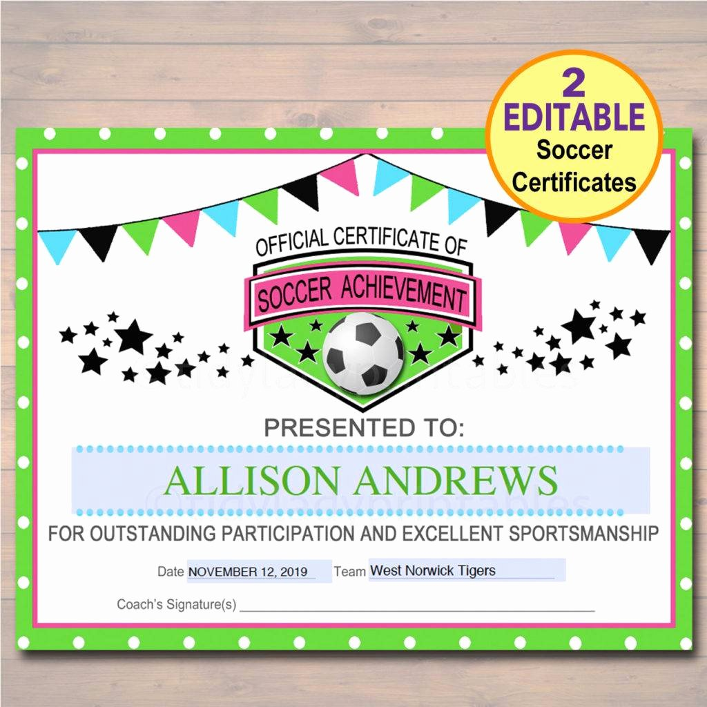 Soccer Award Certificate Template New 13 soccer Award Certificate Examples Pdf Psd Ai