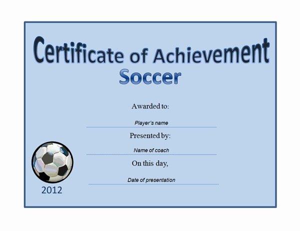 soccer award certificate examples