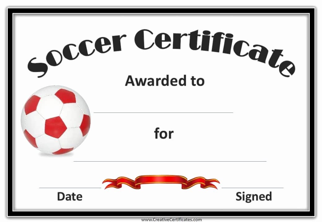 Soccer Award Certificate Templates Inspirational Free Editable soccer Certificates Customize Line