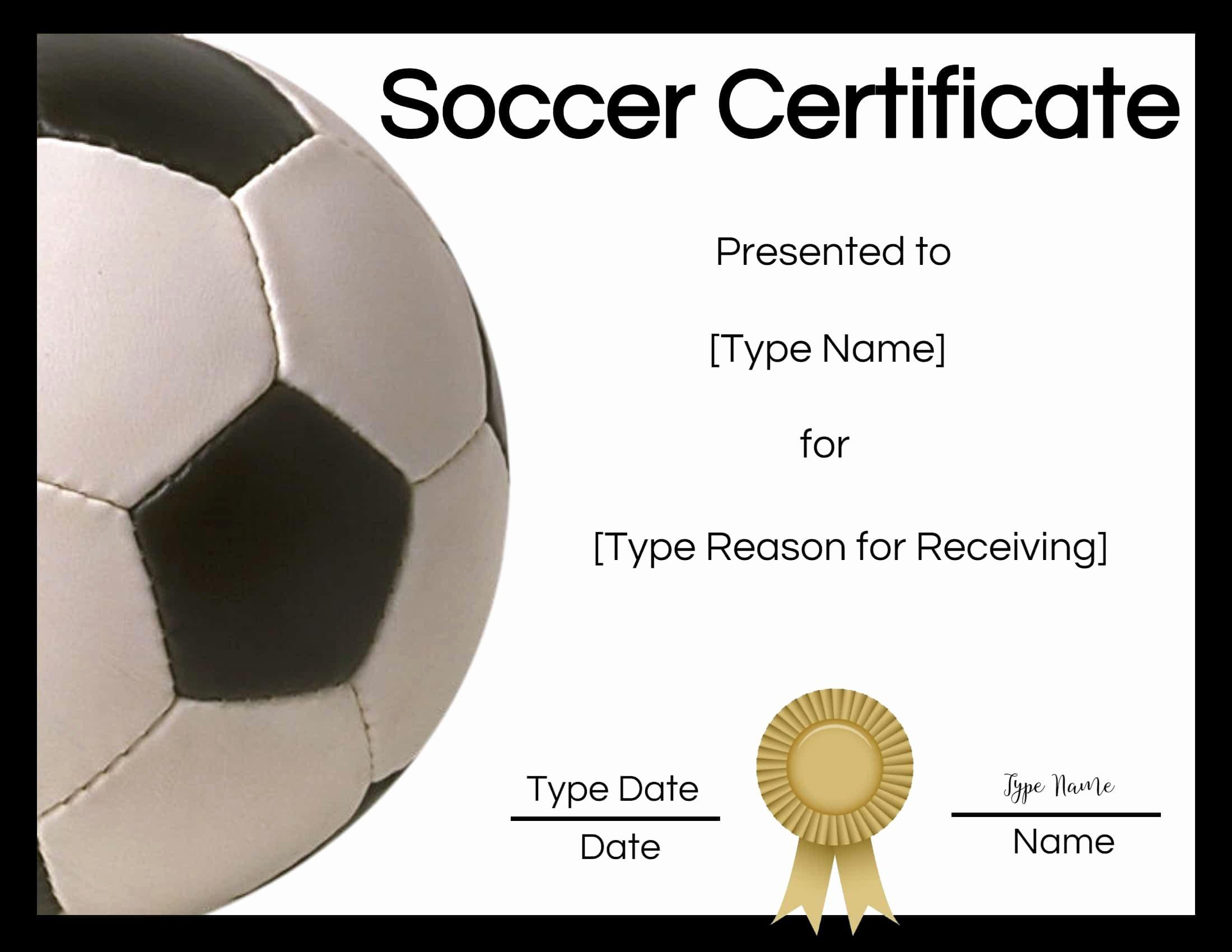 Soccer Award Certificate Templates Inspirational Free soccer Certificate Maker