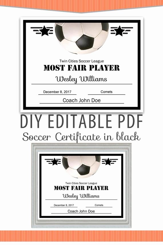 Soccer Award Certificates Templates Awesome Editable Pdf Sports Team soccer Certificate Diy Award