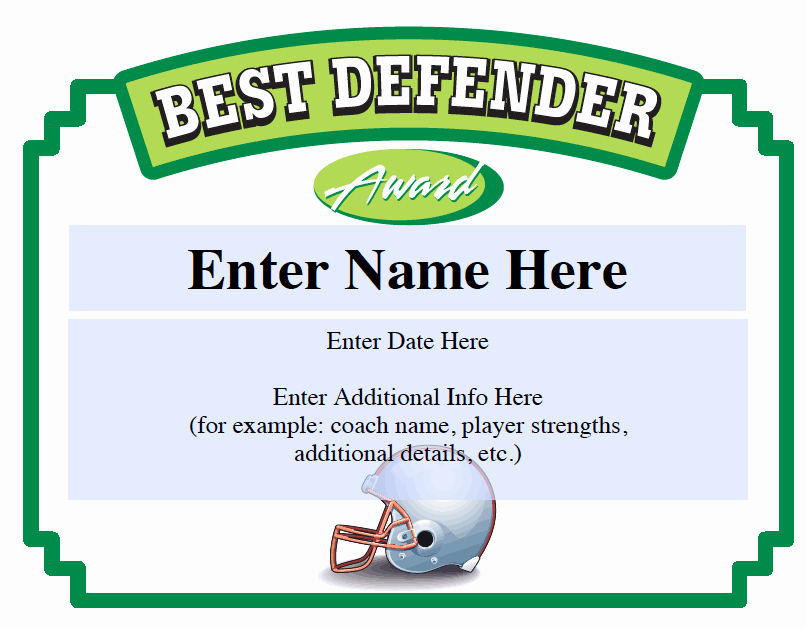 Soccer Award Certificates Templates Best Of Best Defender Football Certificate Sports Feel Good Stories