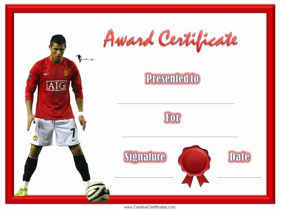 Soccer Award Certificates Templates Unique soccer Award Certificate Football
