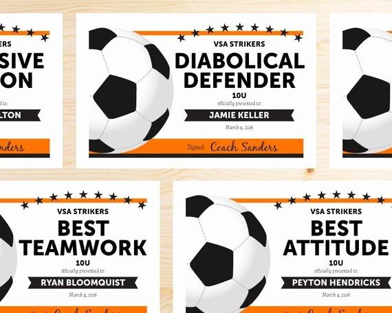 Soccer Awards Certificates Templates Beautiful Editable soccer Award Certificates Instant Download