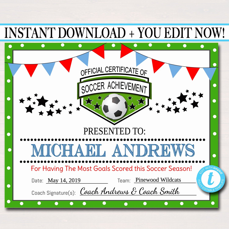 Soccer Awards Certificates Templates Fresh Editable soccer Award Certificates Instant Download Team