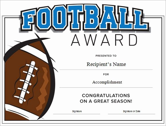Soccer Awards Certificates Templates Inspirational Free 16 Sample Football Certificate Templates In Pdf